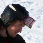 snowboardeuse à portrait de casque — Photo