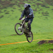 Stock Photo: Extreme jump on downhill race