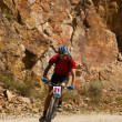 Stock Photo: Mountain biker racing near rocks