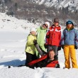 Friends in winter mountain — Stok fotoğraf