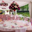 Foto Stock: Pink wedding tables