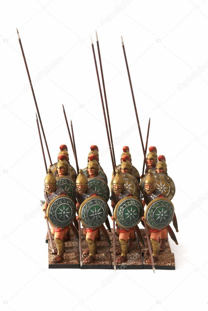 Roman combat phalanx - a tinny small soldiers — Stock Photo #2690910