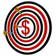 Dartboard dollar with darts — Stock Photo