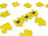 Puzzles with letters on white background — Stock Photo
