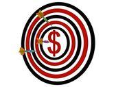 Dartboard dollar with darts — Stock Photo