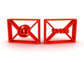 Envelopes com spam e no — Foto Stock