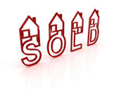 Sold houses on white background — Stock Photo