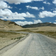 The wide road through deserted lands - Stock Photo