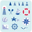 Stock Vector: Blue nautical and sailor icons