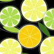 Citrus fruit on black background vector — Vector de stock