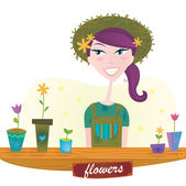 Woman with spring garden flowers — Stock Vector