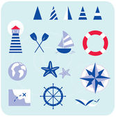Blue nautical and sailor icons — Stock Vector