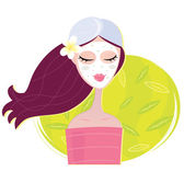 Spa girl with regeneration facial mask — Stock Vector