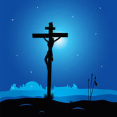 Easter calvary scene with cross in dark — Stock Vector
