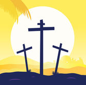 Jesus crucifixion - calvary scene — Stock Vector