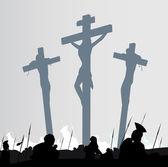 Eastern calvary crucifixion scene — Stock Vector