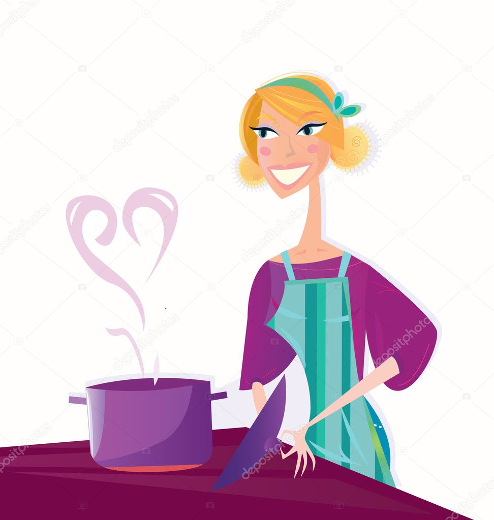 Woman is cooking sweet valentines food. Vector Illustration in retro style isolated on white background. — Stock Vector #2594507