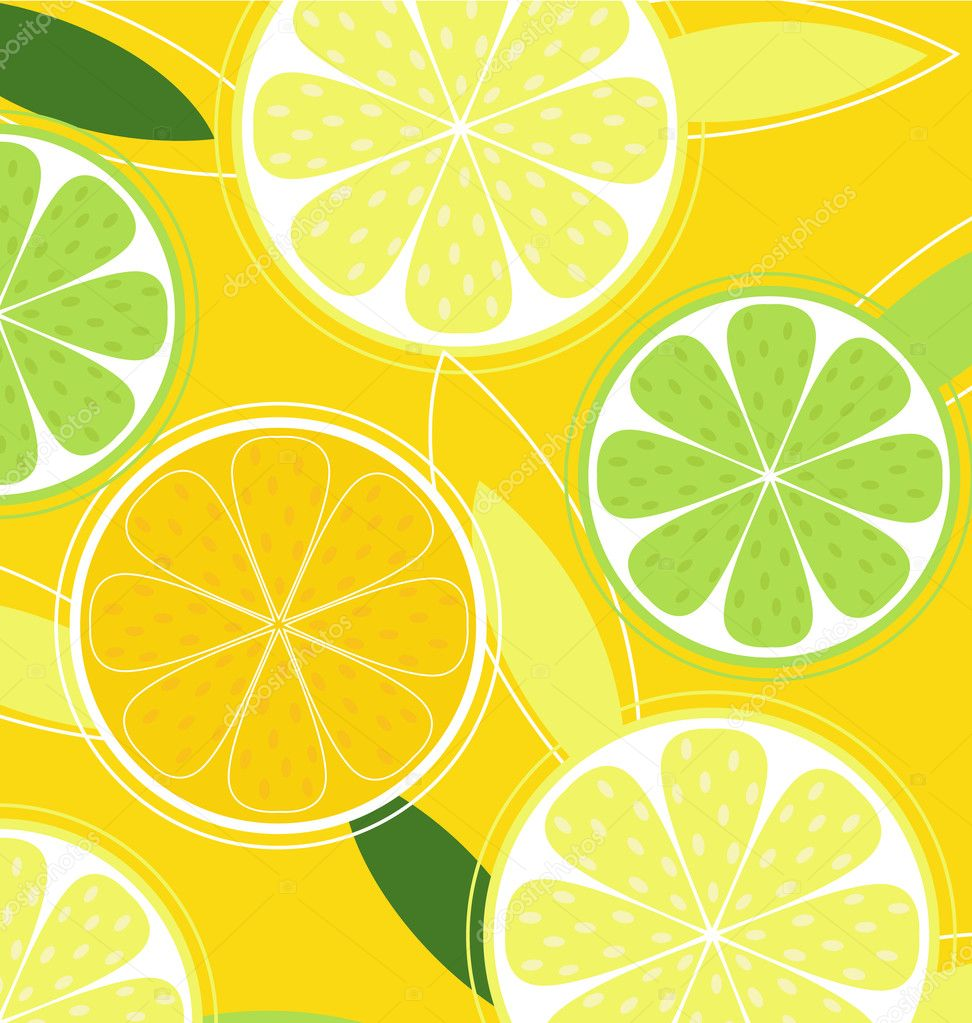 Citrus background texture with slices of lemon, lime and orange. Vector stylized background. — Stock Vector #2594914