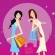 Royalty-Free Stock Vektorfiler: Shopping girls