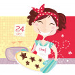 Woman is making christmas cookies - Stock Vector