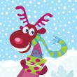 Stock Vector: Red-nosed Rudolph on snow