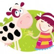 Farm girl with small cow - Imagen vectorial