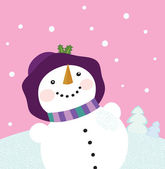 It's snowing - Winter snowman lady — Stock Vector