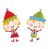 Christmas boy and girl elves — Stock Vector