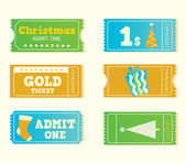 Blue and yellow retro christmas tickets — Stock Vector