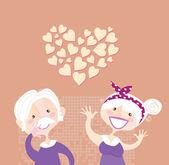 Grandparents ethernal love — Stock Vector