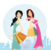Shopping women in the city — Stock Vector