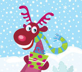 Red-nosed Rudolph on snow — Stock Vector