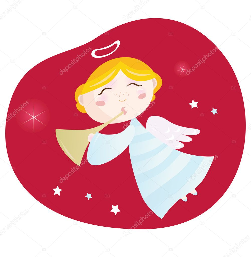 Cute christmas angel with trumpet on dark red background - symbol of love and christianity. Vector Illustration.  — Stock Vector #2618250