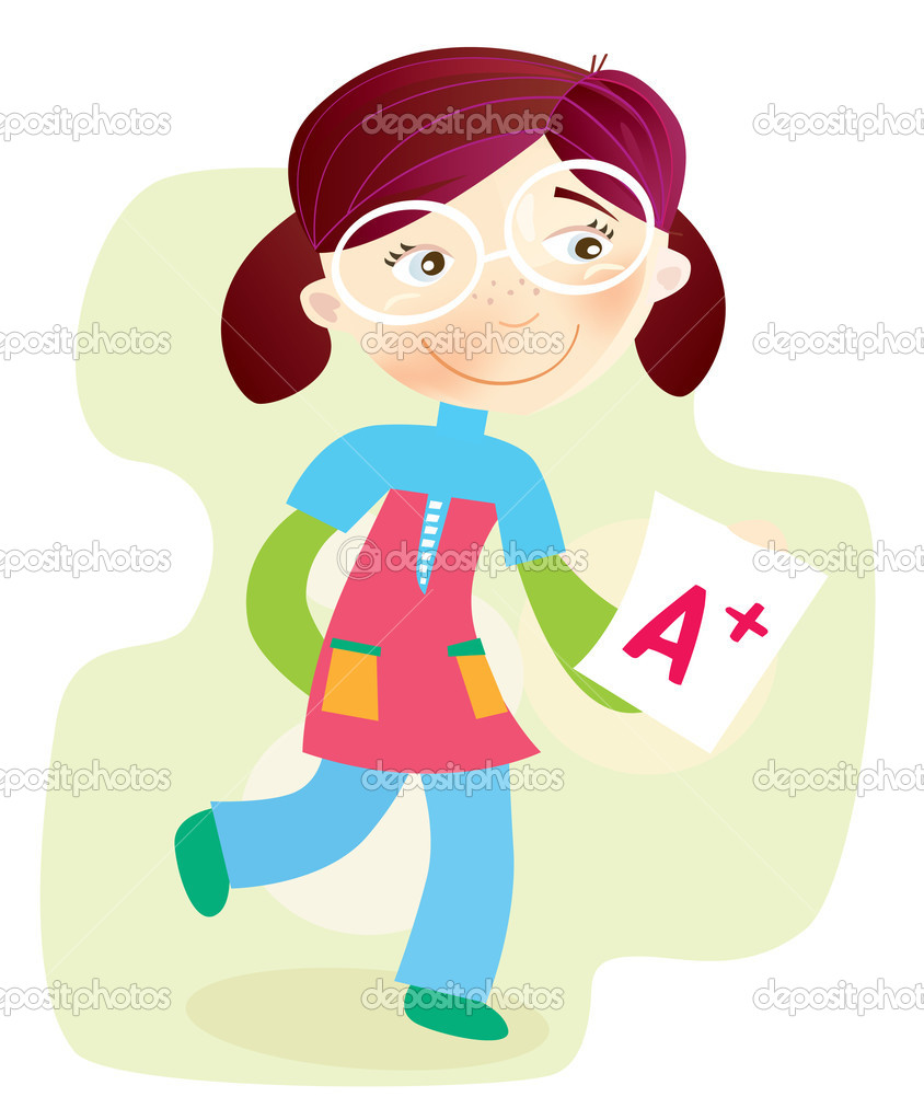Happy cartoon girl with exam report. Vector Illustration. — Stock Vector #2619423
