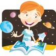 Small boy with story book — Stock Vector