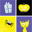 Halloween retro icons — Stock Vector