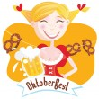 Stock Vector: Octoberfest (Bavariwoman)