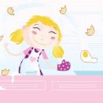 Girl is cooking — Stock Vector
