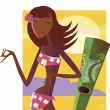 Hula girl. Exotic hawaii girl - Stock Vector