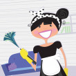 Stock Vector: Housewife - french maid