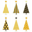 Retro christmas tree isolated on white — Stock Vector