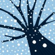 Winter tree with falling snow - Stock Vector