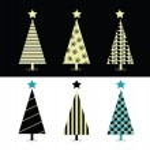 Black & white christmas tree design — Stock Vector