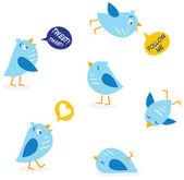 Mensaje conjunto de aves de twitter — Vector de stock