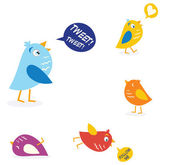 Colored twitter birds set — Stock Vector