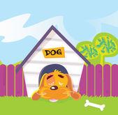 Dog sleeping in dog house — Stock Vector
