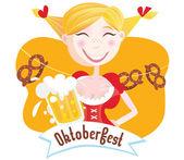 Octoberfest (Bavarian woman) — Stok Vektör