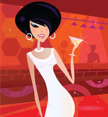 Sexy retro woman in night club — Stock Vector