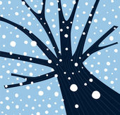 Winter tree with falling snow — Stock Vector