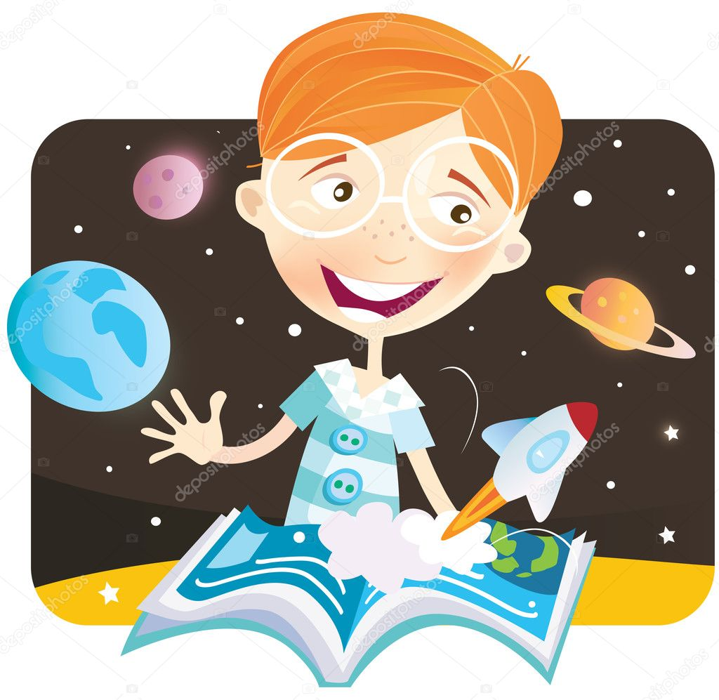 Small astronaut – space story begin! Vector Illustration. — Stock Vector #2642723